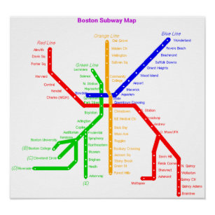 Boston Subway Map Poster.Boston Subway Gifts Gift Ideas Zazzle Uk