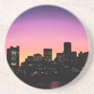 Boston Sunset Skyline From The Harbor .png Sandstone Coaster