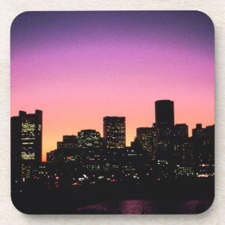 Boston Sunset Skyline From The Harbor .png Beverage Coaster