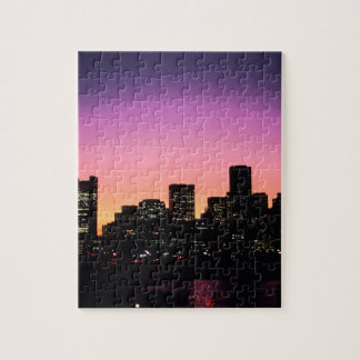 Boston Sunset Skyline From The Harbor .png Jigsaw Puzzle