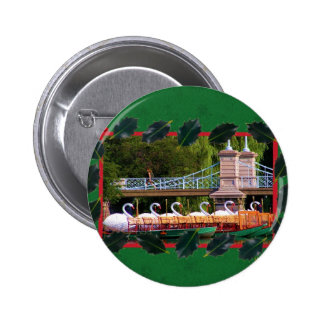 Boston Swan Boats for the Holidays 6 Cm Round Badge