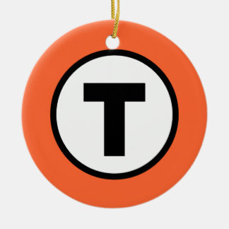Boston T Orange Line Christmas Ornament