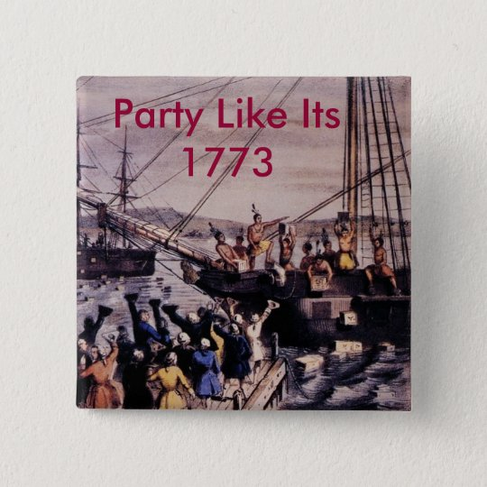 Boston_Tea_Party_Currier_colored, Party Like It... 15 Cm Square Badge
