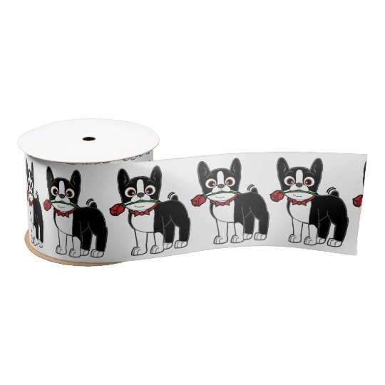 Boston Terrier American Gentleman 3 Inches Satin Ribbon
