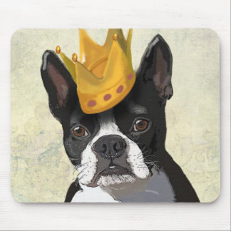 Boston Terrier and Crown Mouse Mat