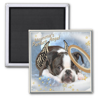 Boston Terrier Angel Apparel and Gifts Square Magnet