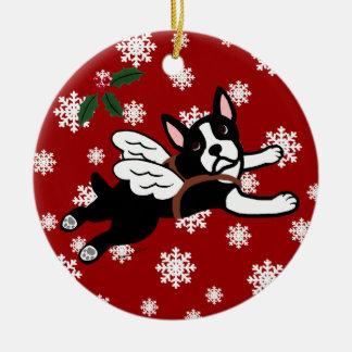 Boston Terrier Angel Cartoon Snowflakes Christmas Ornament