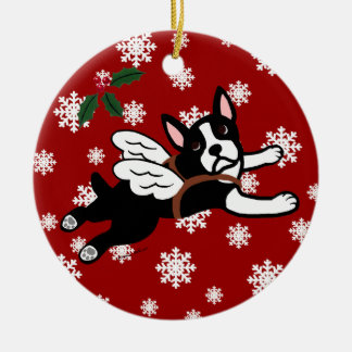 Boston Terrier Angel Cartoon Snowflakes Round Ceramic Decoration