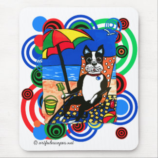 Boston Terrier at the Beach Mouse Pad