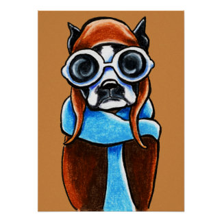 Boston Terrier Aviator Ink Pencil Drawing Poster