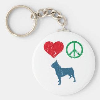 Boston Terrier Basic Round Button Key Ring