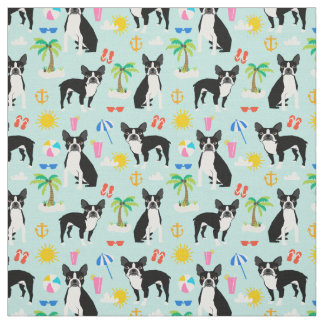 Boston Terrier Beach Fabric - summer dog fabric