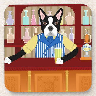 Boston Terrier Beer Pub Coaster