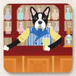 Boston Terrier Beer Pub Drink Coasters