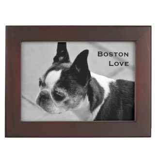 Boston Terrier Black and White Keepsake Boxes
