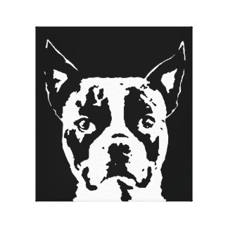 Boston Terrier Black & White Wrapped Canvas Print