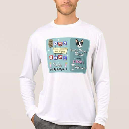 Boston Terrier Bowling Tiki Night Tee Shirt