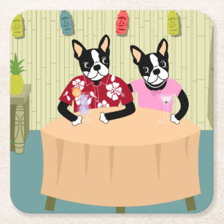 Boston Terrier Boy & Girl Square Paper Coaster