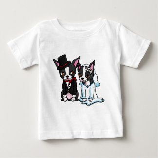 Boston Terrier Bride and Groom Baby T-Shirt