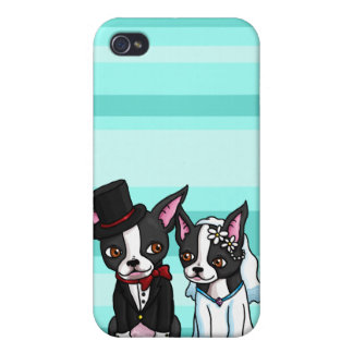 Boston Terrier Bride and Groom iPhone 4/4S Cover