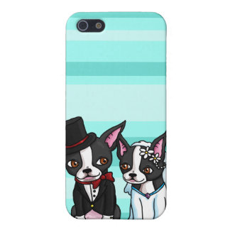 Boston Terrier Bride and Groom iPhone 5/5S Cover