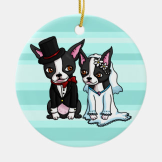 Boston Terrier Bride and Groom Round Ceramic Decoration