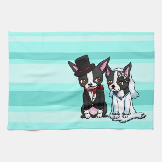 Boston Terrier Bride and Groom Tea Towel