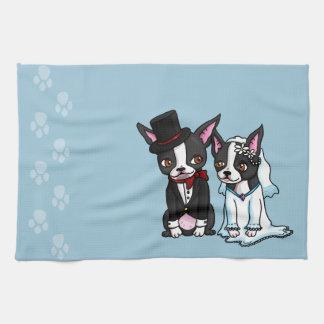 Boston Terrier Bride and Groom Tea Towel
