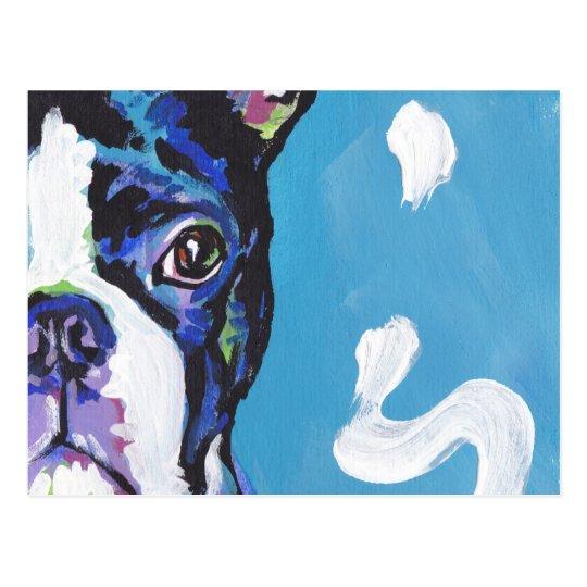 Boston Terrier Bright Colourful Pop Dog Art Postcard