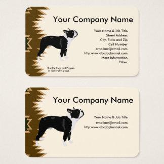 Boston Terrier, Brown design on tan Business Card