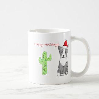 Boston Terrier Cactus Christmas Coffee Mug