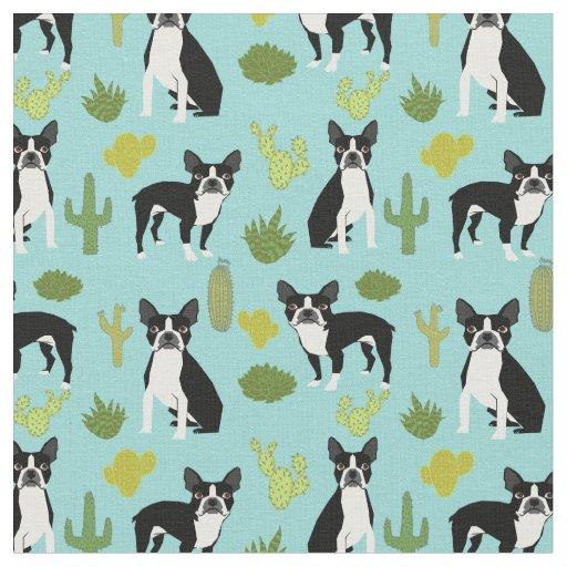 Boston Terrier Cactus Fabric