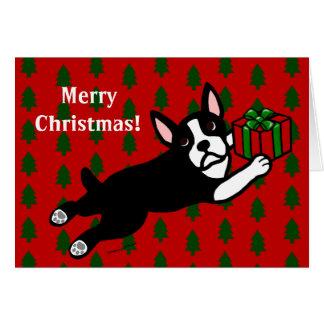 Boston Terrier Cartoon Christmas Cards