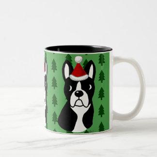 Boston Terrier Cartoon Christmas Mugs