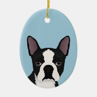 boston terrier cartoon christmas ornament