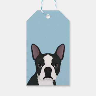 boston terrier cartoon gift tags