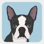 boston terrier cartoon square sticker