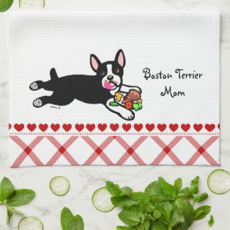 Boston Terrier Cartoon Tea Towel