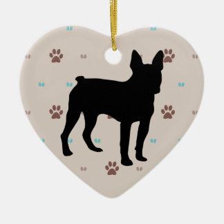 Boston Terrier Ceramic Heart Decoration