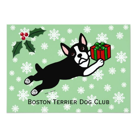 Boston Terrier Christmas 2 Cartoon Snowflakes Card