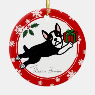 Boston Terrier Christmas 2 Cartoon Snowflakes Christmas Ornament