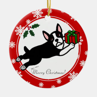 Boston Terrier Christmas 2 Cartoon Snowflakes Round Ceramic Decoration