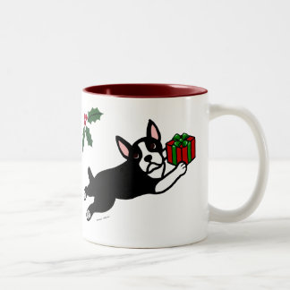 Boston Terrier Christmas 2 Cartoon Two-Tone Mug