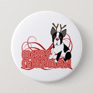 Boston Terrier Christmas 7.5 Cm Round Badge