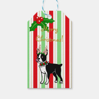 Boston Terrier Christmas Antlers Gift Tags