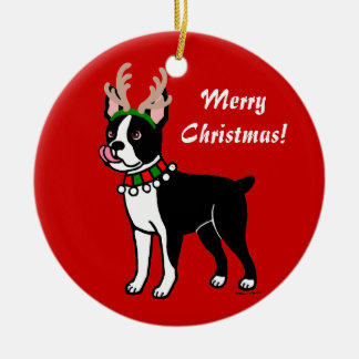 Boston Terrier Christmas Antlers Round Ceramic Decoration