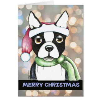 Boston Terrier Christmas Card
