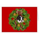 Boston Terrier Christmas Card Wreath