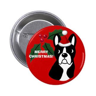 Boston Terrier Christmas Cartoon 6 Cm Round Badge
