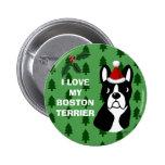 Boston Terrier Christmas Cartoon Pinback Buttons